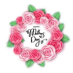 Happy mother's day background  with pink  roses.