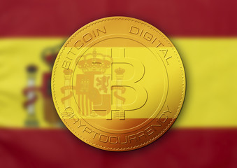 Bitcoin gold coin. Virtual cryptocurrency concept with Spain flag.