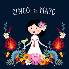 Cinco de Mayo greeting card, invitation with Mexican woman drinking margarita cocktail, chili peppers and decorative folklore flowers. Ornamental floral frame pattern, flat design, vector illustration