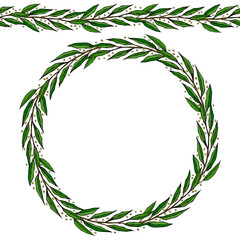 Green Bay Leaf Endless Ribbon Brush. Laurel Round Wreath Frame with a Space for Text. Farm Harvest Template. Realistic Hand Drawn Illustration. Savoyar Doodle Style.