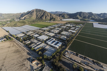 Aerial view of Camarillo farm fields and industrial buildings in Ventura County, California.