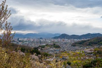 福島の桃源郷花見山公園から望む福島市