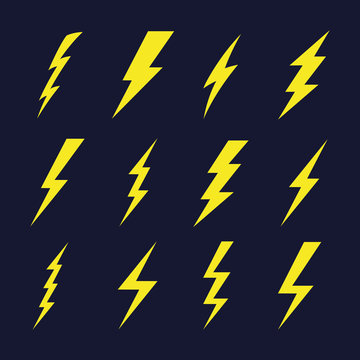 Thunder sign set. Flash icons. Vector