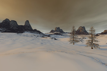 Snowy mountain, an alpine landscape, rocks, beautiful trees and a cloudy sky.