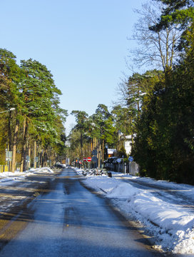 Snowed road in Jurmala, on the shore of the Gulf of Riga, in winter 2018.Latvia.