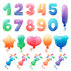 Set of color cartoon numbers, balloons and fireworks. Rainbow candy and glossy funny cartoon symbols. Collection of different holiday symbols