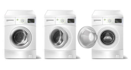 Vector set of 3d realistic washing machine with front-loader and smart display isolated on white background. Mock up of modern household electric appliance for housework, laundry