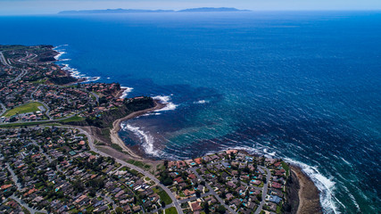 Aerial view of Palos Verdes Coastline with Catalina Island in background