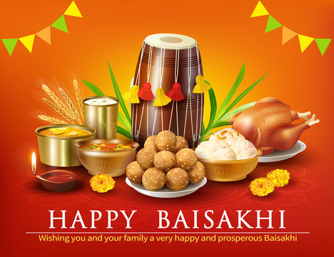 . Greeting background with traditional food and dhol for Punjabi festival Baisakhi (Vaisakhi). Vector illustration.