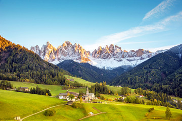 Canvas Prints Honey Magical spring landscape with a church in the valley of Santa Magdalena, Italy, Europe, Dolomites