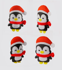 hand toy penguin. Christmas decoration of deer. Soft toy