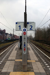 Emergency pole in the middle of 2 platforms on the station of Waddinxveen, The Netherlands