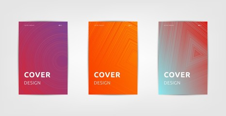 Abstract covers design, gradients vector set.Brochure template layout, cover design annual report, magazine, flyer in A4 with figures and lines triangles, square, circles, flower, polygons for science