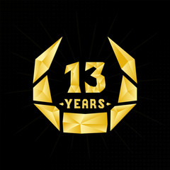 13 years anniversary design template. Low poly design.