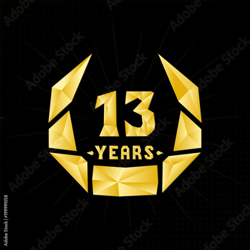 13 Years Anniversary Design Template Low Poly Design Stock Image