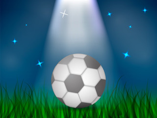 Soccer ball on a lawn at night with ray of light. Vector illustration.