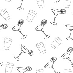 vector seamless pattern drink with ice alcohol margarita in a glass