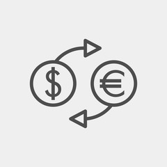 Currency conversion flat vector icon