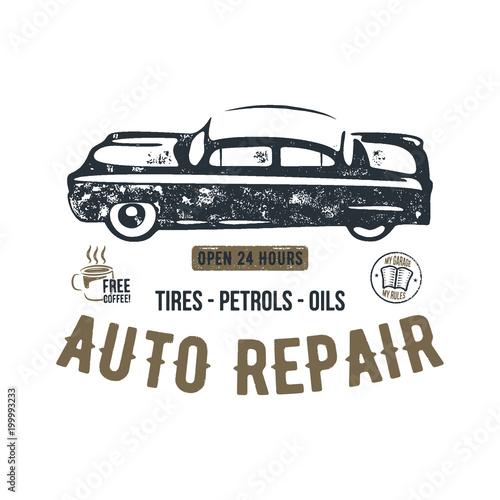vintage hand drawn auto repair t shirt design classic car poster