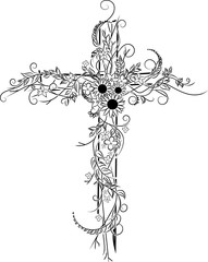 Flower tattoo, cross decor