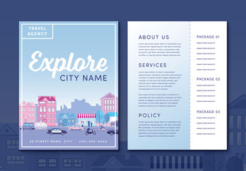Travel Agency Flyer Layout with City Street Illustration