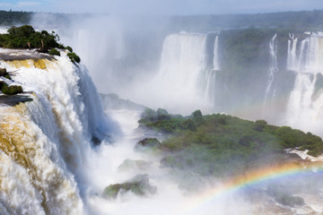 Waterfall Cataratas del Iguazu on Iguazu River, Brazil