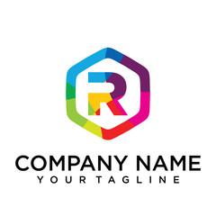 r Letter Logo Icon Hexagon Design template Element