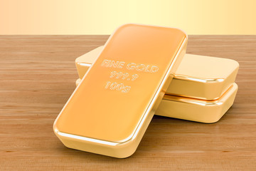 Golden ingots closeup on the wooden background. 3D rendering