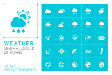Set of 25 Universal Weather Icons on Color Background . Isolated Elements