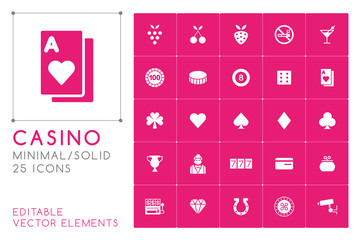Set of 25 Universal Casino Icons on Color Background . Isolated Elements