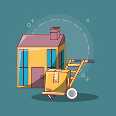 Free delivery design with house and hand cart with house over blue background, colorful design. vector illustration