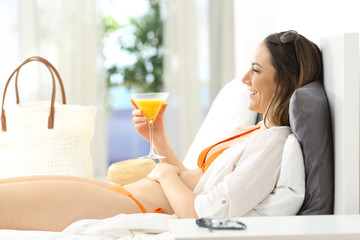 Hotel guest relaxing on summer vacations
