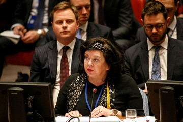 Britain's Ambassador to the United Nations Karen Pierce addresses the United Nations Security Council meeting on Syria at the U.N. headquarters in New York