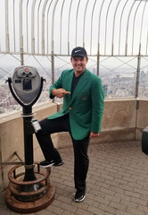2018 Masters winner Patrick Reed poses for pictures at the top of the Empire State Building in New York