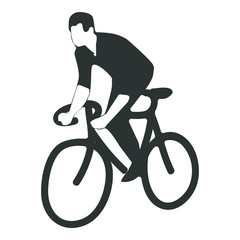 Hipster man riding race bike - black and white illustration