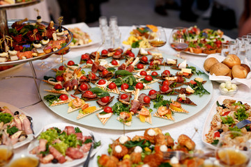 A lot of food and snacks on event catering