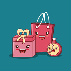 kawaii shopping bag with chronometer and gift box over blue background, colorful design. vector illustration