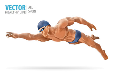 Fit swimmer training in the swimming pool. Professional male swimmer inside swimming pool. Butterfly stroke. A man dives into the water. Vector illustration.