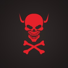 red skull with horn for pirates logo