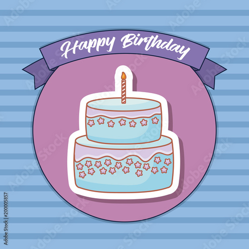 Happy Birthday Design With Birthday Cake With Candles Icon Over