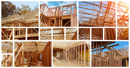 New residential construction house framing against a blue sky. The concept of service for dating photo collage