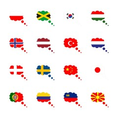 icon Flag with jamaica flag, liechtenstein, flag of netherland, southern corea flag and netherland