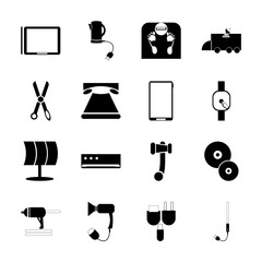 icon Technology with folder, blowdryer, electronic, diet and watch