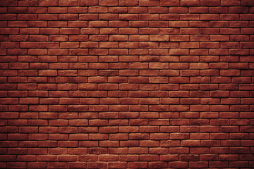 The texture of red wall made of bricks use for background