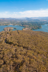 Aerial view of Canberra and surrounding landscape