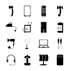 icon Technology with background, data, refrigerator, scissors and fridge