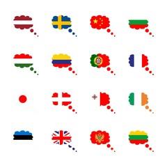icon Flag with japan, lithuania flag, hungary flag, france and usa flag