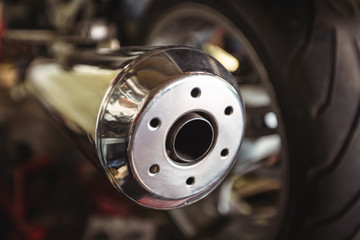 Close-up of a motorcycle exhaust pipes