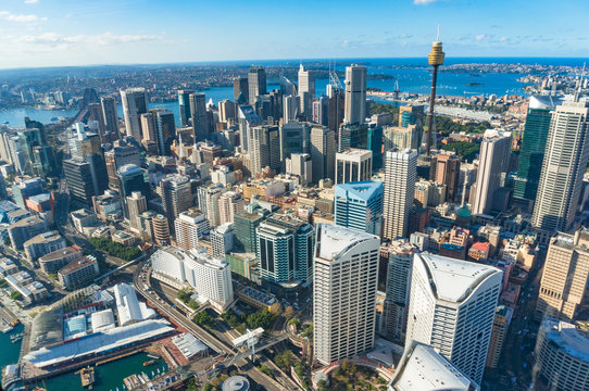 Aerial cityscape of Sydney Central Business District