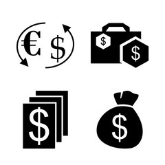 icon Currency with business money, euro usd exchange, cash, bag and money bag